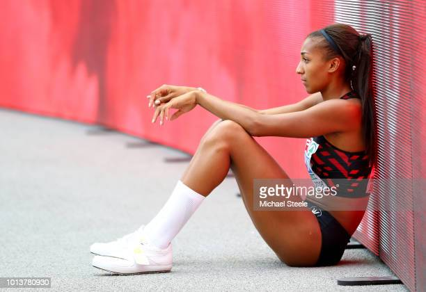 Nafissatou Thiam of Belgium reacts during day three of the 24th European Athletics Championships at Olympiastadion on August 9 2018 in Berlin Germany...