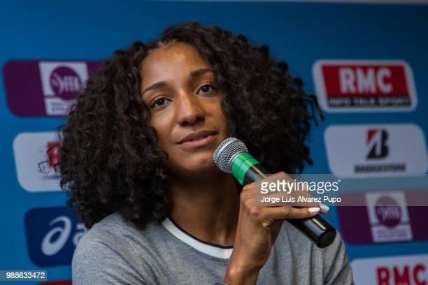 Nafissatou Thiam of Belgium speaks during the press conference of Meeting de Paris of the IAAF Diamond League 2017 at the Paris Marriot Rive Gauche...
