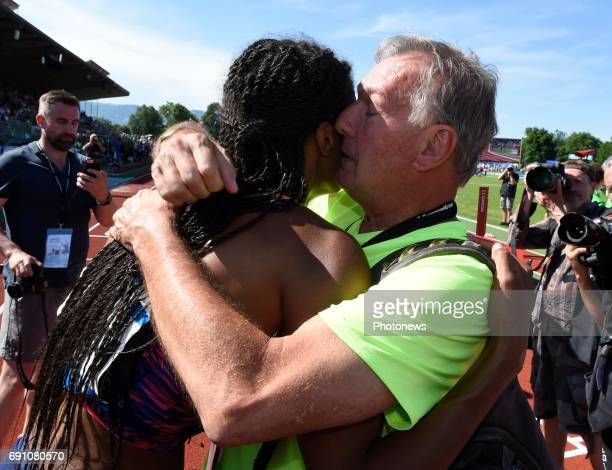 Nafissatou Thiam of Belgium wins the ' athletic Hypomeeting ' in Gotzis with her coach Roger Lespagnard on may 27 and 28 may 2017 in Gotzis Austria