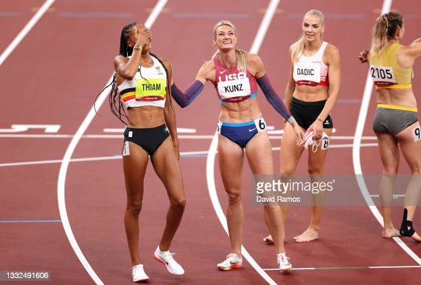 Nafissatou Thiam of Team Belgium reacts after winning the gold medal in the Women's Heptathlon alongside Annie Kunz of Team United States on day...