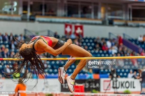 Nafissatou ThiamBelgium at high jump under Pentathlon for women at European athletics indoor championships in Belgrade on March 3 2017
