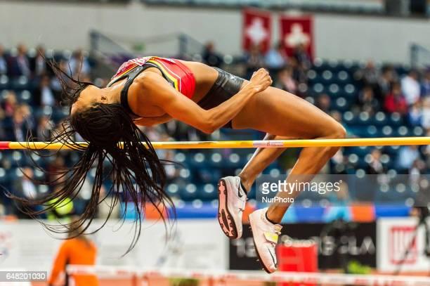Nafissatou Thiam,Belgium, at high jump under Pentathlon for women at European athletics indoor championships in Belgrade, 3 march 2017