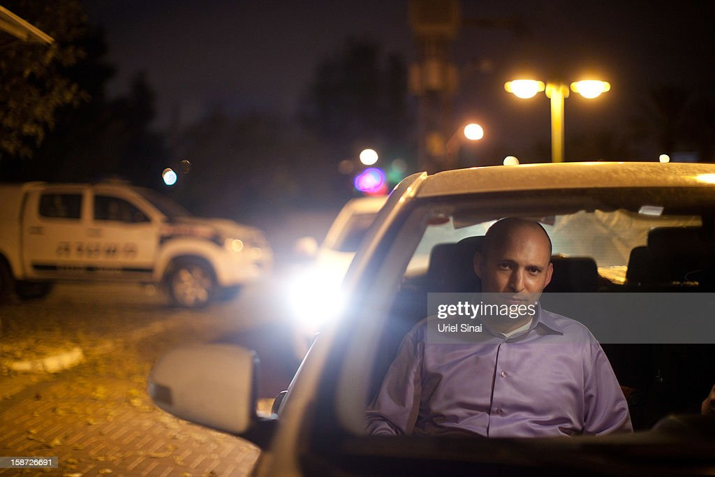 Naftali Bennett Head of HaBayit HaYehudi Party, the Jewish Home party, sits in his car during a campaign tour on December 26, 2012 in Tel Aviv, Israel. The religious Jewish Home party (HaBayit HaYehudi) led by Naftali Bennett, are mounting a strong challenge for the right wing vote from Benjamin Netanyahu's Likud party as Israel heads for a general election on January 22.