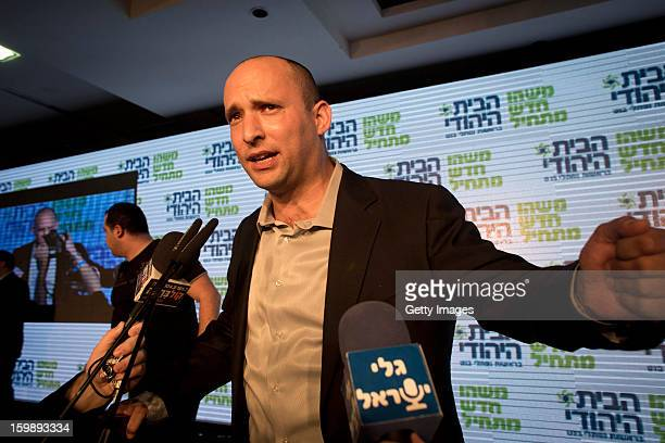 Naftali Bennett leader of the Habayit Hayehudi party speaks to supporters and activists from his party at a postelection rally on January 22 2013 in...