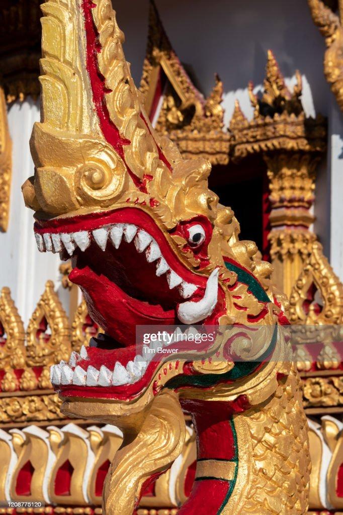 Naga at Phra Mahathat Kaen Nakhon stupa. : Stock Photo