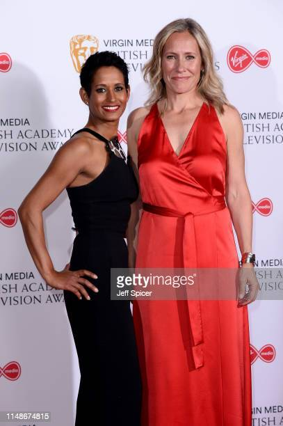 Naga Munchetty and Sophie Raworth pose in the Press Room at the Virgin TV BAFTA Television Award at The Royal Festival Hall on May 12, 2019 in...