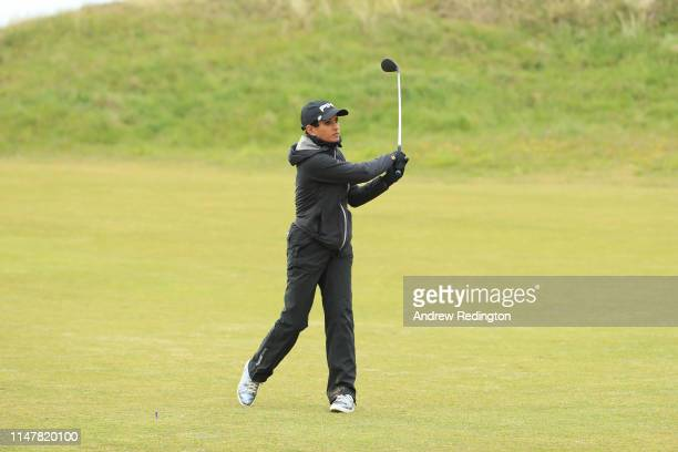 Naga Munchetty BBC Breakfast presenter in action during the Pro Am prior to the start of the Betfred British Masters at Hillside Golf Club on May 08...