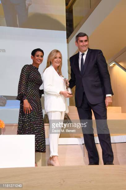 Naga Munchetty Chrissie Rucker and JeanMarc Gallot at The Veuve Clicquot 2019 Business Woman Awards at The Design Museum on May 23 2019 in London...