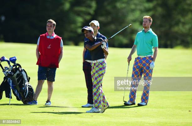 Naga Munchetty plays her second shot on the 9th fairway during the AAM Scottish Open Pro Am at Dundonald Links Golf Course on July 12 2017 in Troon...