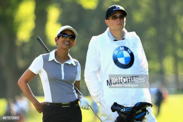 Naga Munchetty reacts on the 3rd during the BMW PGA Championship ProAM at Wentworth on May 24 2017 in Virginia Water England