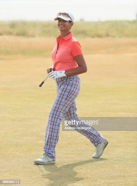 Naga Munchetty TV presenter in action during the Pro Am event prior to the start of the Aberdeen Standard Investments Scottish Open at Gullane Golf...