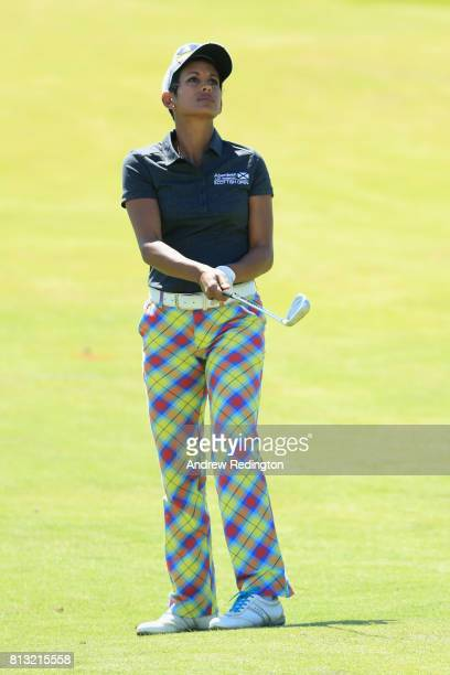 Naga Munchetty TV presentor plays a shot from the fairway during a ProAm prior to the AAM Scottish Open at Dundonald Links Golf Course on July 12...