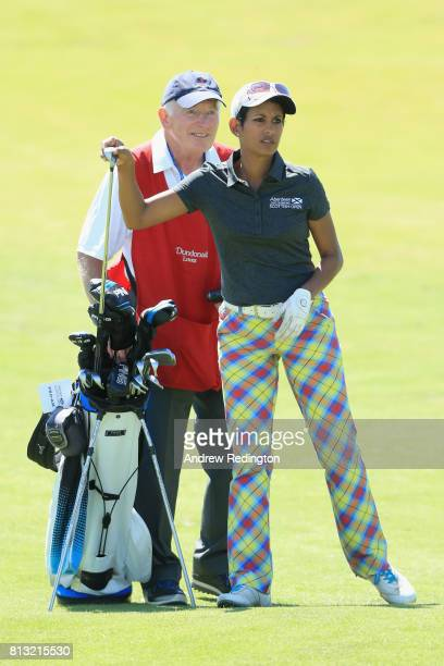 Naga Munchetty TV presentor selects her club during a ProAm prior to the AAM Scottish Open at Dundonald Links Golf Course on July 12 2017 in Troon...