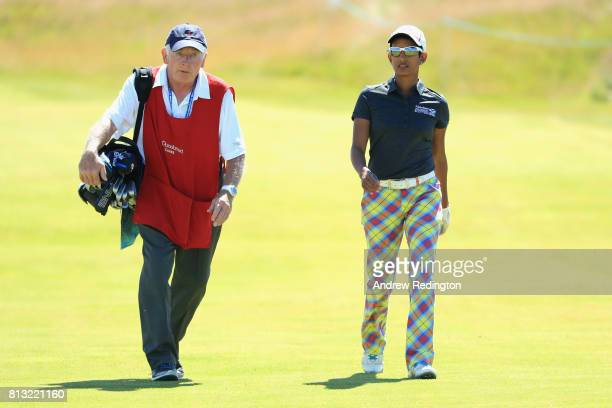 Naga Munchetty TV presentor walks to her next shot during a ProAm prior to the AAM Scottish Open at Dundonald Links Golf Course on July 12 2017 in...