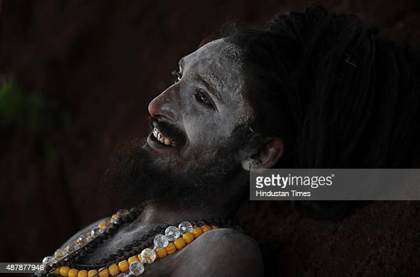 Naga sadhu of Juna Akhada at Trimbakeshwar before the auspicious day of Shahi Snan during Kumbh Mela at Trimbakeshwar on September 12 2015 in Nashik...