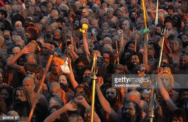 naga sadhus at maha kumbh mela festival, allahabad, india - prayagraj stock pictures, royalty-free photos & images