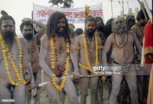 Naga Sadhus during Maha Kumbh Mela Festival Allahabad