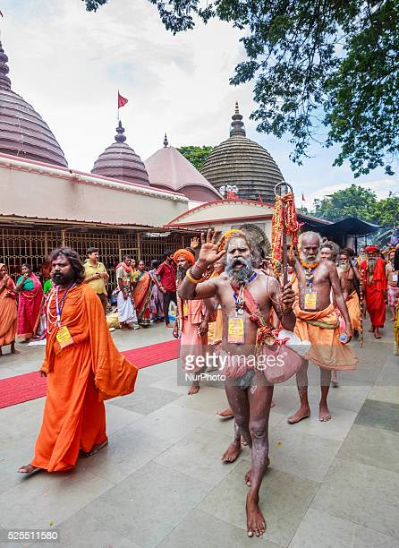 Naga Sadhus Holy men taking out a rally on the occasion of annual Ambubachi festival at the Kamakhya temple in Guwahati India Sunday June 21 2015 The...