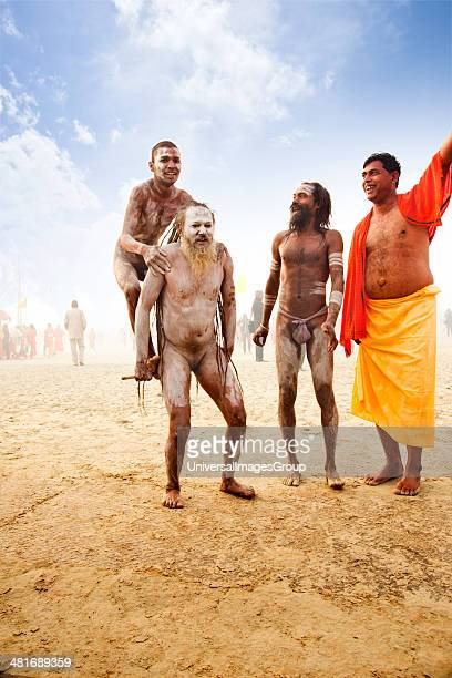 Naga Sadhus perform during a religious procession in Kumbh Mela festival Allahabad Uttar Pradesh India