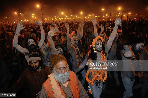 Naga Sadhus walk in a procession to the Sangam, the confluence of the holy rivers Ganges, Yamuna and the mythical Saraswati for the Shahi Snan of...