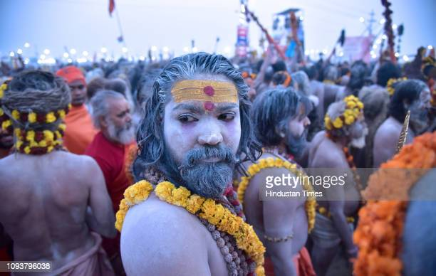 Naga Sanyasi of Niranjani Akhada during Shahi Snan in Kumbh Mela festival on February 4, 2019 in Prayagraj, India. On the occasion of Mauni Amavasya...
