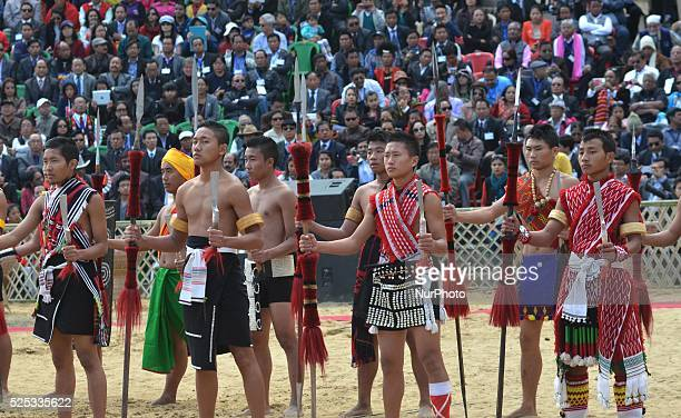 Naga tribesman performs a dance at the opening ceremony of the Hornbill Festival at Kisama some 15km away from Kohima the capital city of India north...