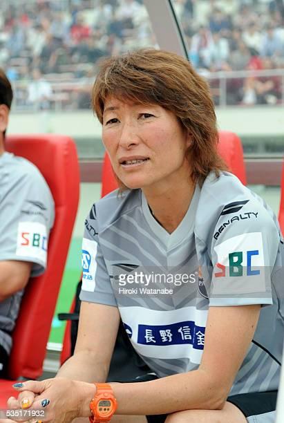 AC Nagano Parceiro head coach Midori Honda looks on prior to the Nadeshiko League match between Urawa Red Diamonds Ladies and AC Nagano Parceiro...