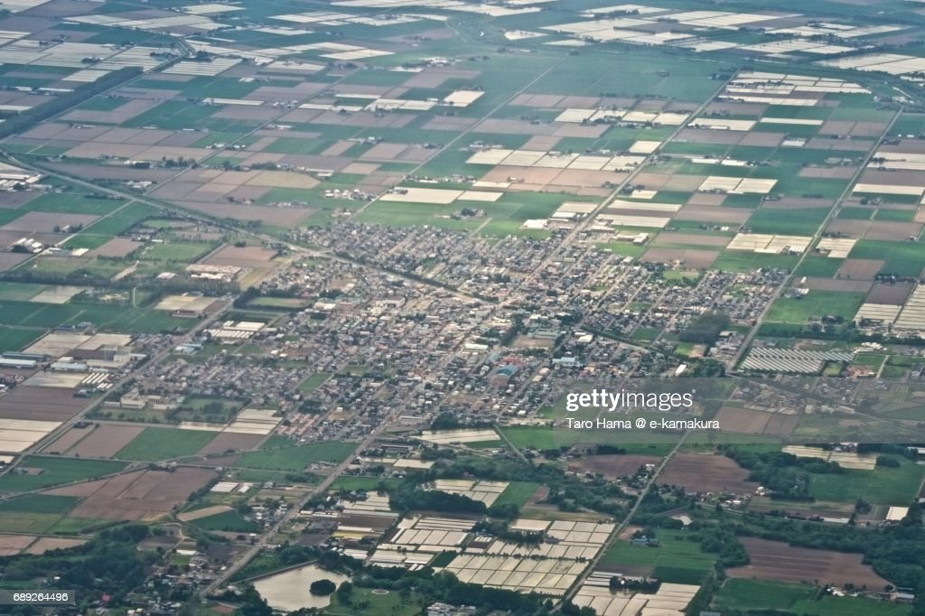 Naganuma town in Hokkaido daytime aerial view from airplane : Stock Photo