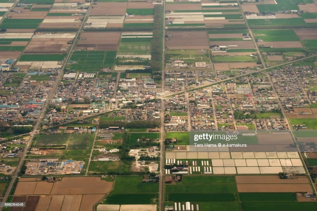 Naganuma town in Hokkaido daytime aerial view from airplane : Stock Photo