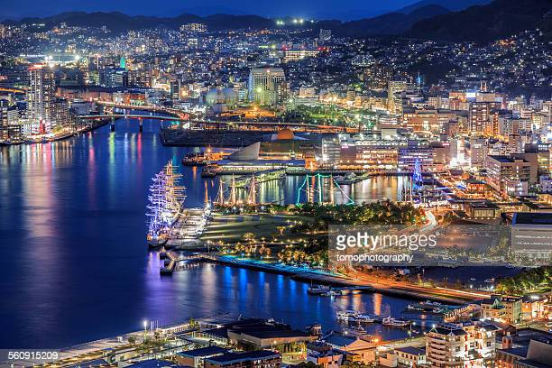 nagasaki bay night shot - nagasaki prefecture stock pictures, royalty-free photos & images