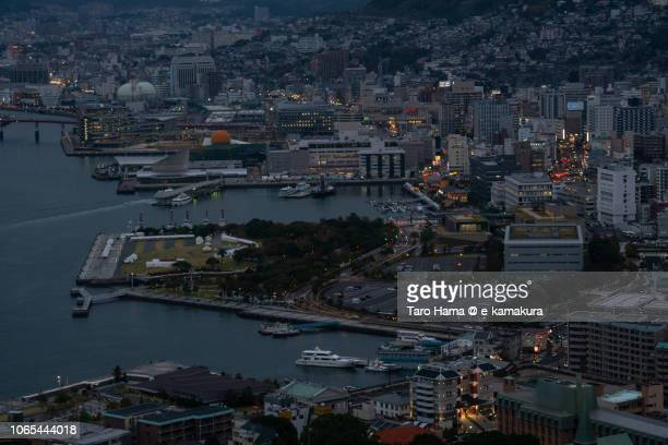Nagasaki city and harbor in the twilight