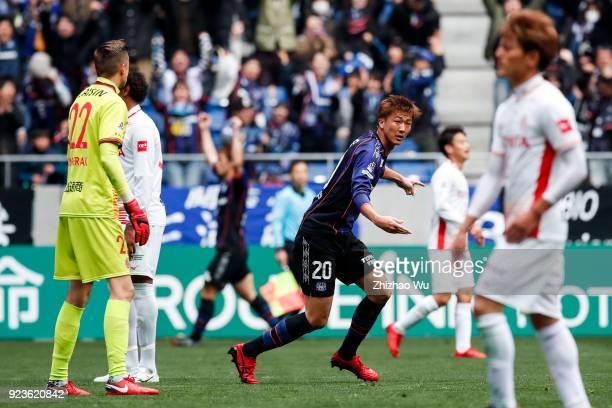 Nagasawa Shun of Gamba Osaka celebrates his scoring during the JLeague J1 match between Gamba Osaka and Nagoya Grampus at Suita City Football Stadium...
