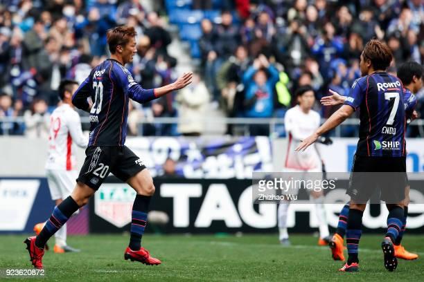 Nagasawa Shun of Gamba Osaka celebrates his scoring with teammates during the JLeague J1 match between Gamba Osaka and Nagoya Grampus at Suita City...
