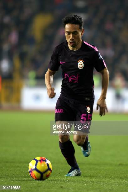 Nagatomo of Galatasaray in action during a Turkish Super Lig week 20 soccer match between Demir Grup Sivasspor and Galatasaray at 4 Eylul Stadium in...