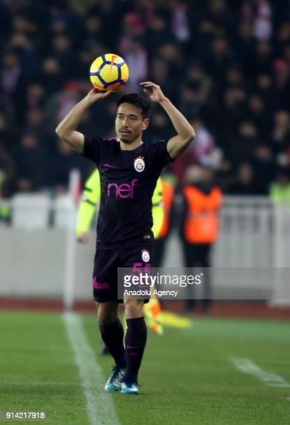Nagatomo of Galatasaray throws the ball during a Turkish Super Lig week 20 soccer match between Demir Grup Sivasspor and Galatasaray at 4 Eylul...