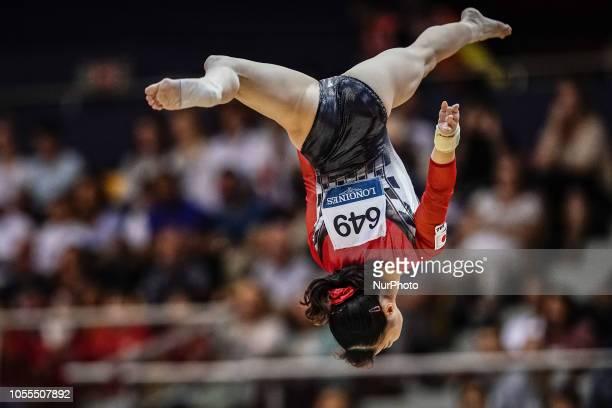 Nagi Kajita of Japan during Balancing Beam Team final for Women at the Aspire Dome in Doha Qatar Artistic FIG Gymnastics World Championships on...