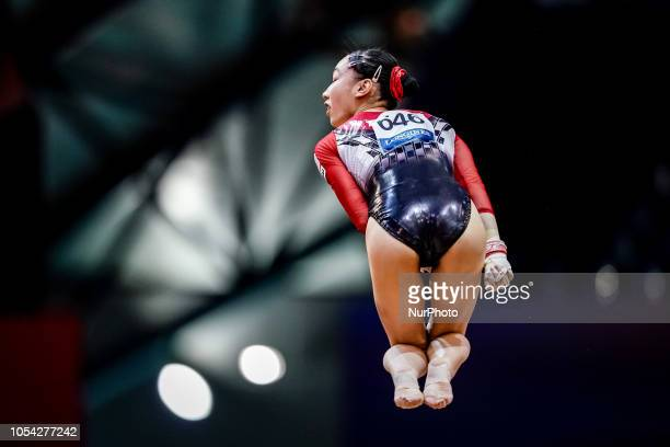 Nagi Kajita of  Japan during Uneven Bar qualification at the Aspire Dome in Doha Qatar Artistic FIG Gymnastics World Championshipson 27 of October...
