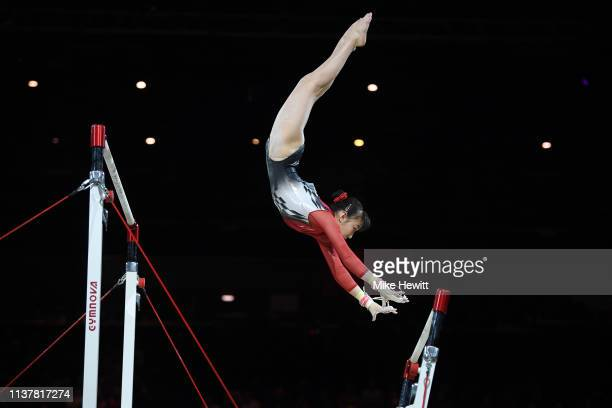 Nagi Najita of Japan in action on the Uneven Bars during the 2019 Gymnastics World Cup at Resorts World Arena on March 23 2019 in Birmingham England