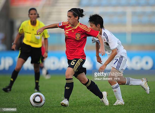 Nagore Calderon of Spain breaks away from Hikaru Naomoto of Japan during the FIFA U17 Women's World Cup Group C match between Spain and Japan at the...