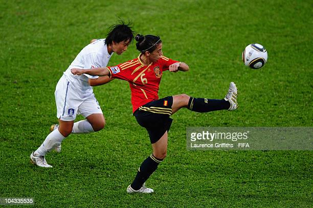 Nagore Calderon of Spain in action during the FIFA U17 Women's World Cup Semi Final match between South Korea and Spain at the Ato Boldon Stadium on...