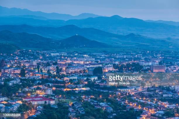 nagorno karabakh republic, stepanakert, high angle skyline view, dawn - nagorno karabakh stock pictures, royalty-free photos & images