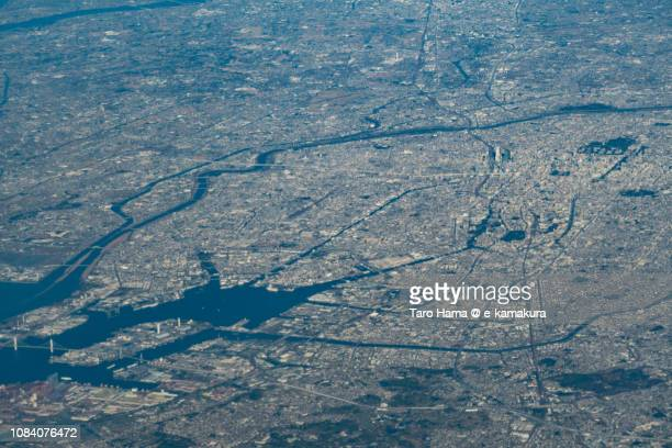 Nagoya and Tokai cities in Aichi prefecture in Japan daytime aerial view from airplane