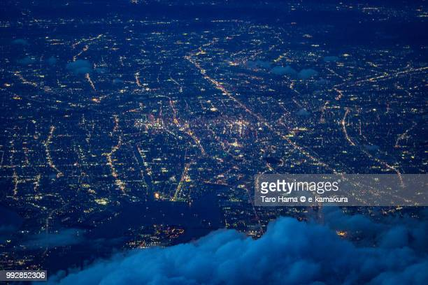 Nagoya city in Aichi prefecture in Japan twilight time aerial view from airplane
