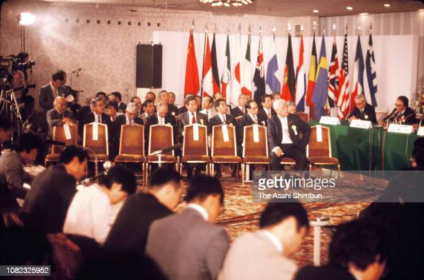 Nagoya city staffs attend a press conference as Nagoya is defeated to Seoul to host the 1988 Summer Olympic Games on September 30 1981 in Nagoya...