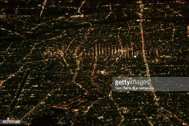 Nagoya cityscape, night aerial view from airplane