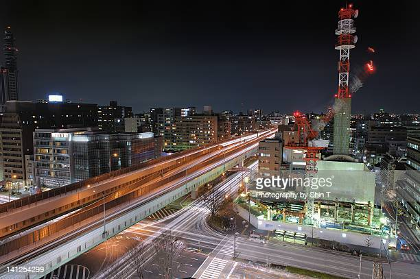 Nagoya expressway at night