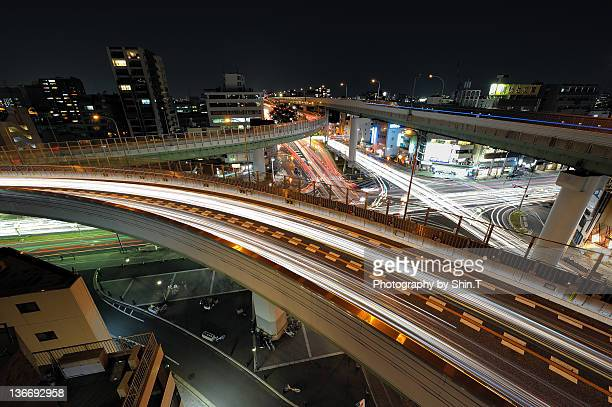 Nagoya expressway Higashikataha JCT at night