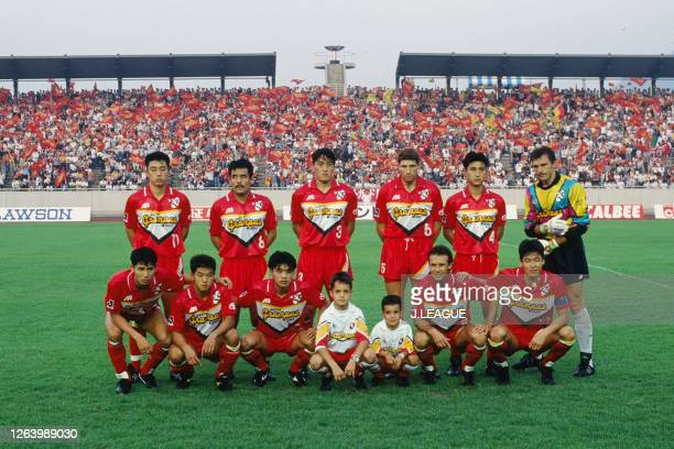 Nagoya Grampus Eight players line up for the team photos prior to the J.League Suntory Series match between Nagoya Grampus Eight and JEF United...