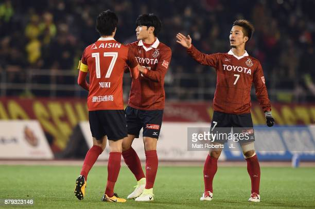 Nagoya Grampus players celebrate their 42 victory in the JLeague J1 Promotion PlayOff semi final match between Nagoya Grampus and JEF United Chiba at...