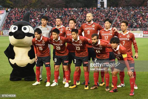 Nagoya Grampus players line up for the team photo prior to the JLeague J1 Promotion PlayOff semi final match between Nagoya Grampus and JEF United...